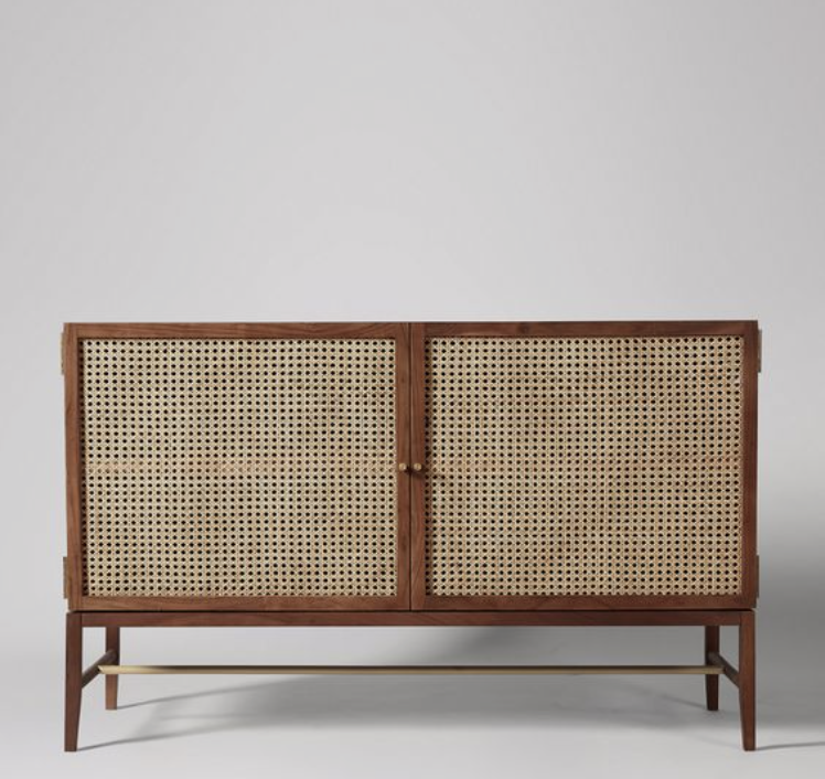 Contemporary Acacia Sideboard with Rattan Cupboard Detail and Brass Pulls