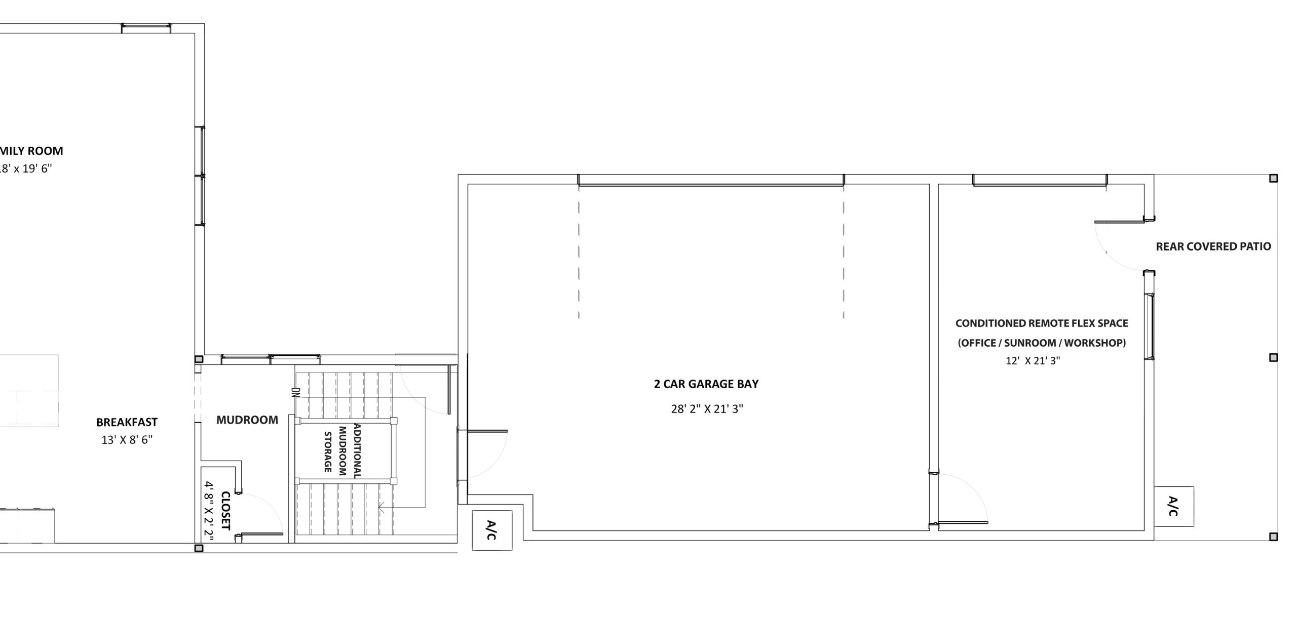 Floor Plan showing bonus space in new construction home accessed through the garage