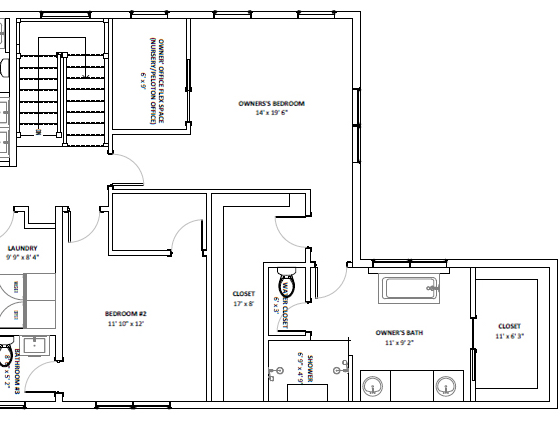 primary suite with floor plan with massive closet private attached office and spa bathroom