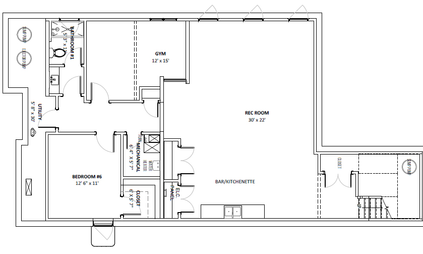 New Construction Basement Floor Plan with In Law Suite and Home Gym